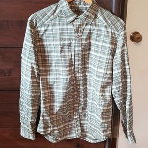 REI Green plaid button up